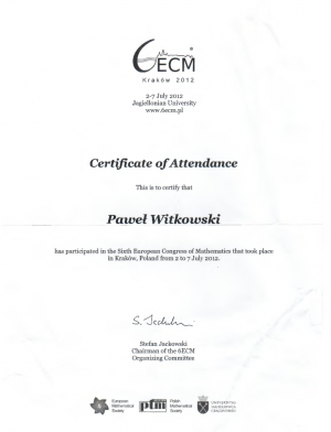 6th European Congress of Mathematics - Certificate of Accendance
